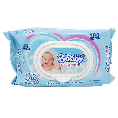 Khăn ướt trẻ em Bobby không mùi gói 100 tờ