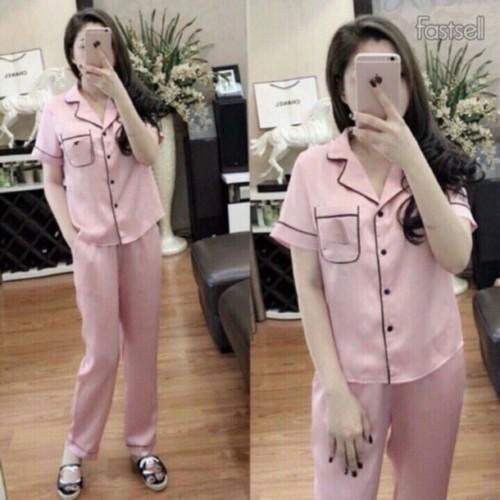Bộ Pijama lụa satin cộc tay quần dài cực đẹp - Hàng loại 1