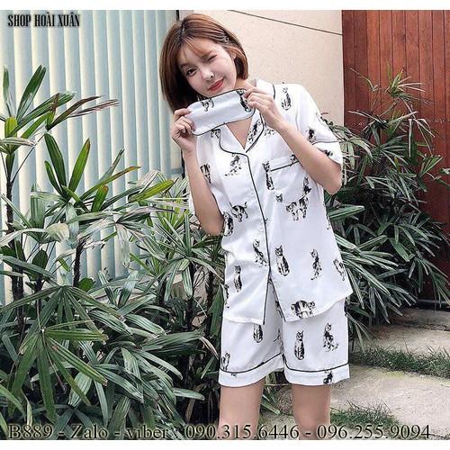 Bộ đồ pijama ngắn mặc nhà kèm bịt mắt phi lụa hàng xuất khẩu cao cấp hình con mèo - B889