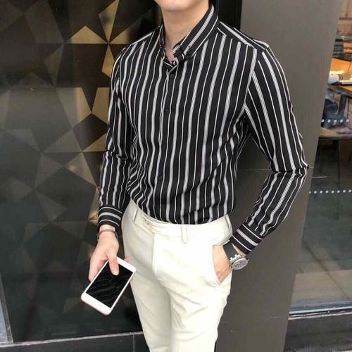 Áo sơ mi nam kẻ sọc  tay dài kate lụa cao cấp đẹp thời trang SM41