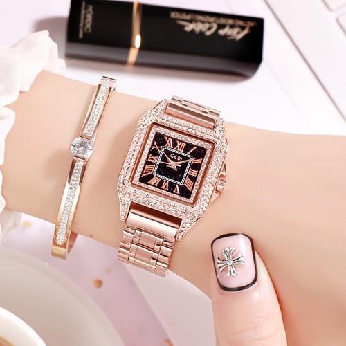 Đồng hồ nữ Gedi 71941 dây thép không gỉ màu hồng mặt đen