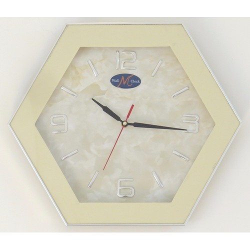 Đồng hồ treo tường lục giác màu trắng kem