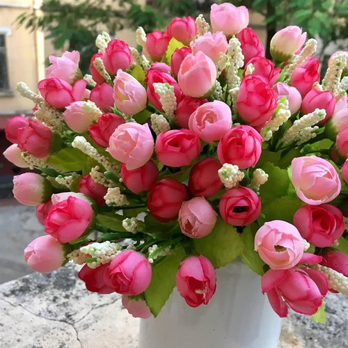 Combo 10 cành hoa hồng tỉ muội 15 bông trang trí-hoa giả - hoa lụa
