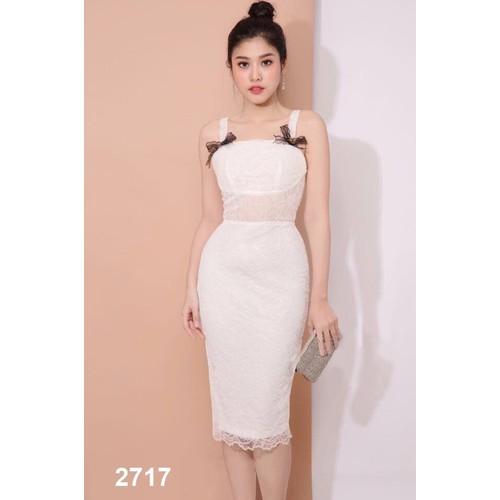 Đầm body ren trắng đính nơ vai