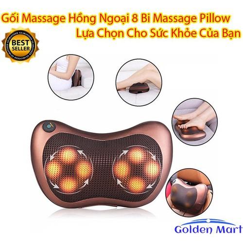 Gối massage hồng ngoại 8 bi Massage Pillow tặng dock sạc sử dụng trên ô tô