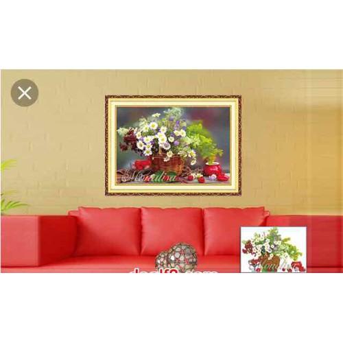 tranh đính đá binh hoa 70x50cm
