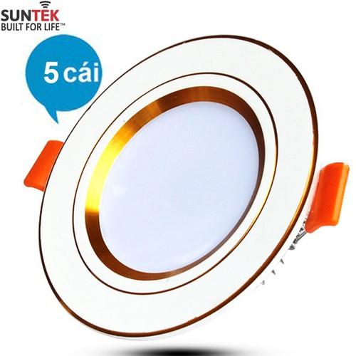 Bộ 5 đèn LED âm trần cao cấp 3 mầu SUNTEK 9W