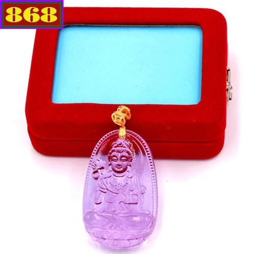 Mặt Phật Đại Thế Chí Bồ Tát pha lê tím 5 cm kèm hộp nhung