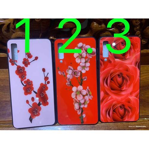 Ốp Samsung A7 2018 A750 dẻo viềng lưng kính in hoa