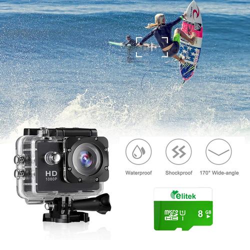 Camera Hành Động Sport Cam + Thẻ Nhớ Elitek 8GB