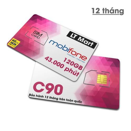 [Free 6 tháng] Sim 4G 10 số Mobifone C90NTặng 720GB +6000p nội mạng +300p ngoại mạng.