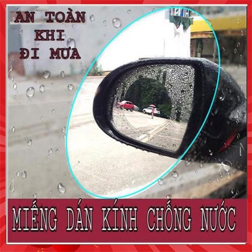 Bộ 2 miếng dán chống nước và Chống lóa gương ô tô xe máy hình tròn đường kính 8cm