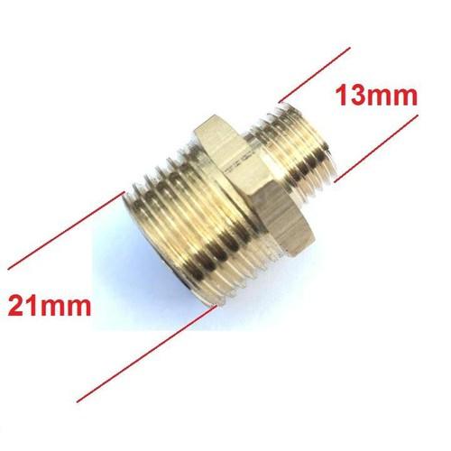 Đầu nối thu từ ren ngoài 21mm xuống ren ngoài 13mm bằng đồng thau