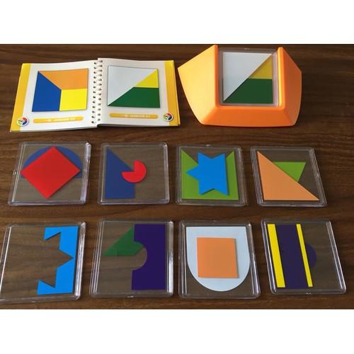 Ghép hình tư duy 18 thẻ 4 cấp độ - Thẻ hình vuông- Mã TD18V