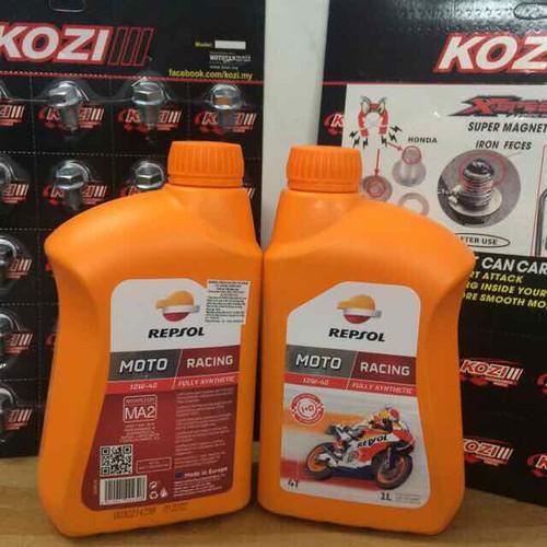 Combo Nhớt Repsol Moto Racing 4T 10W-40 và Ốc Nam Châm Kozi Malaysia Cho Xe Honda
