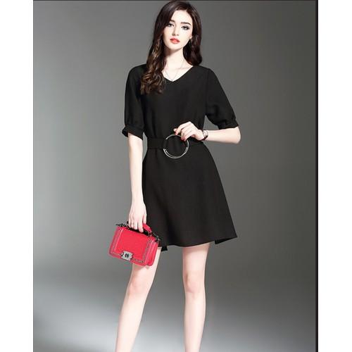 Đầm Voan Form Suông Kèm Thắt Lưng -M,L,XL - N549 - Đỏ, đen
