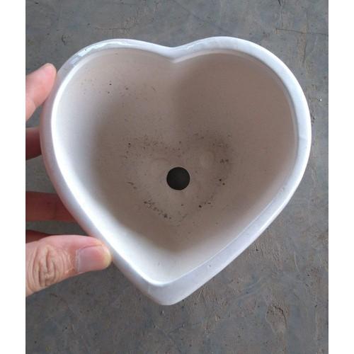 Chậu trồng cây cảnh: Mẫu sứ tim đơn cỡ to 13 cm