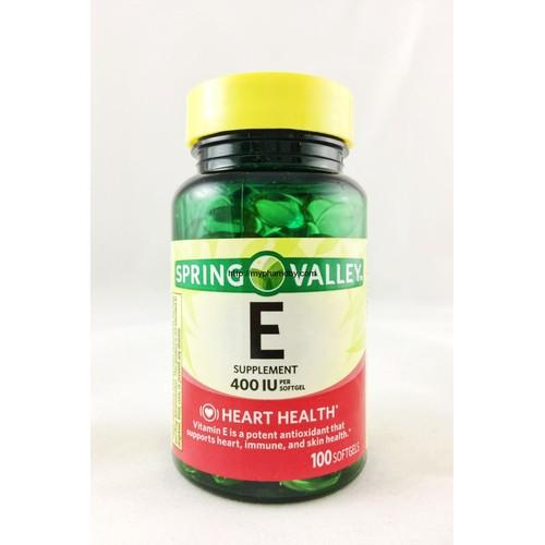 Viên uống bổ sung Vitamin E Spring Valley 400 IU 100 softgels