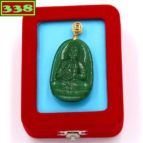 Mặt dây chuyền Phật A Di Đà xanh 4.3cm kèm hộp nhung phật bản mệnh tuổi Tuất - Hợi
