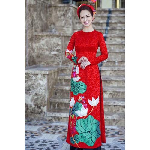 Set Áo Dài Truyền thống gấm họa tiết hoa sen kèm quần