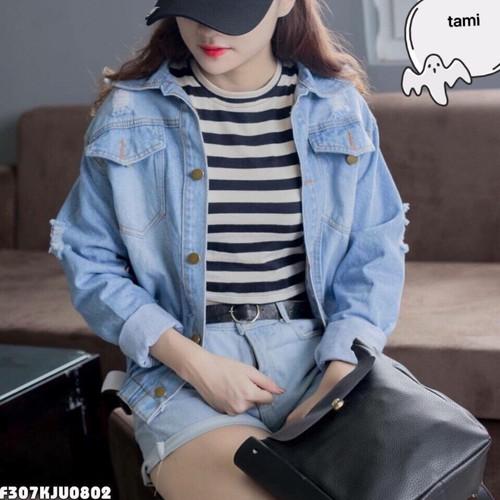 áo kgoasc jean nữ rách tay
