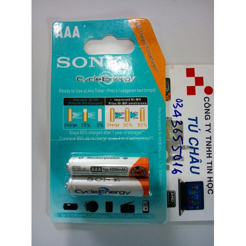 Pin sạc SONY AAA - 3A Rechargeable NH-AAA 1.2V - 4300mAh - Sạc 1000 lần
