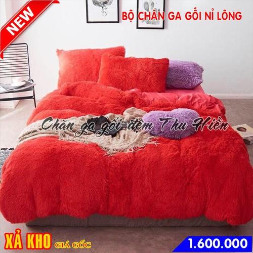 Bộ chăn ga gối nỉ lông mềm mịn màu đỏ