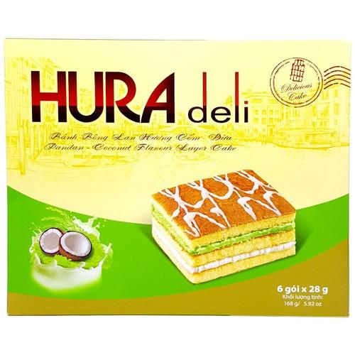 Bánh bông lan Hura Deli vị cốm + dừa 168g - 6980976 , 13721944 , 15_13721944 , 22500 , Banh-bong-lan-Hura-Deli-vi-com-dua-168g-15_13721944 , sendo.vn , Bánh bông lan Hura Deli vị cốm + dừa 168g