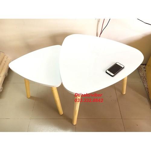 PK - Cặp bàn sofa tam giác trắng 60-45, bàn trà, bàn cafe, bàn gỗ phòng khách, bàn cà phê