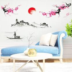 decal dán tường phong cảnh HOA ĐÀO thiết kế nội thất Á ĐÔNG