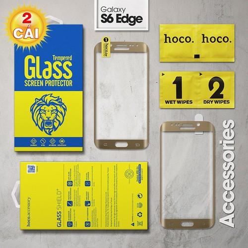 Combo 2 kính cường lực Galaxy S6 Edge Full Hoco vàng