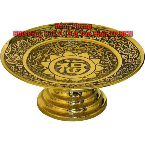 Đĩa trái cây cỡ số 4 đồng vàng cao cấp trên ban thờ gia tiên