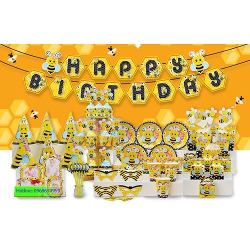 Sét trang trí sinh nhật bày bàn tiệc chủ đề Ong vàng - Set mega đẹp lung linh và đầy đủ