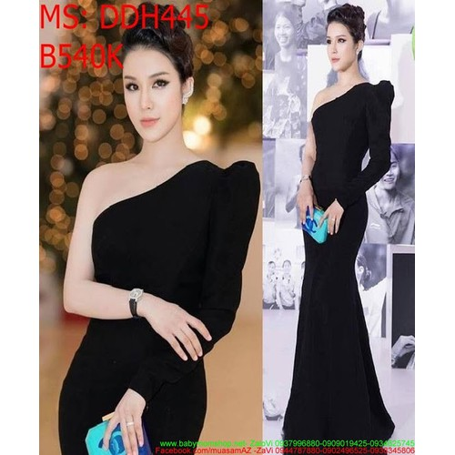 Đầm dạ hội màu đen lệch vai dài tay 1 bên sang trọng DDH445