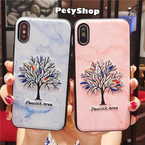 Ốp dẻo Peacock Tree thêu iPhone 7 Plus 8 Plus X XS XS MAX