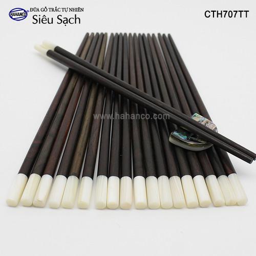 Đũa gỗ Trắc đầu xà cừ  - CTH707TT - Hộp 10 đôi tròn- gỗ Trắc tự nhiên - Chopstick of HAHANCO