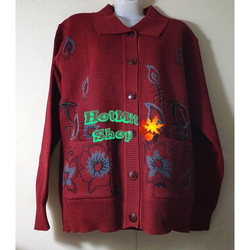 Áo len trung niên in hoa đẹp màu đỏ