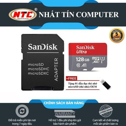 Thẻ nhớ MicroSDXC SanDisk Ultra A1 128GB Class 10 U1 100MB.s kèm adapter [Đỏ] + Tặng 1 đầu đọc thẻ
