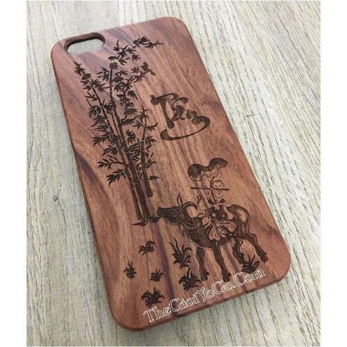 Ốp lưng gỗ  Iphone - Chữ Tâm