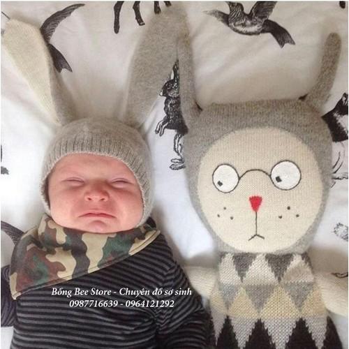 Mũ len tai thỏ dài cho bé
