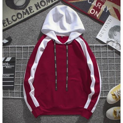 áo khoác hoodie-áo khoác hoodie đỏ-áo khoác hoodie sọc tay đen