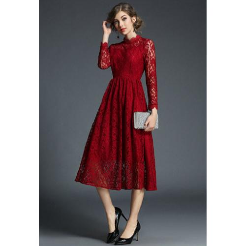 Đầm midi ren dạ hội tay dài kín đáo SD949