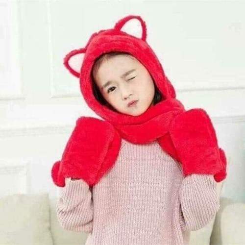 mũ kèm khăn và gang tay trẻ em