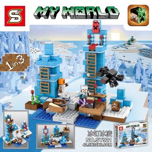 Xếp hình Lắp ráp Minecraft đồ chơi sáng tạo 1in3 mô hình cột băng 470 khối SY921