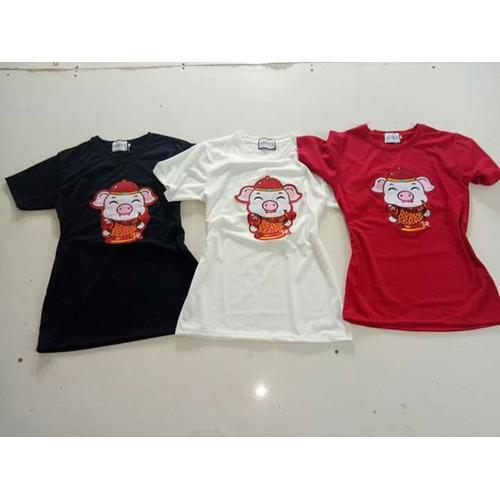 áo thu thun heo thần tài Nam nữ và em bé