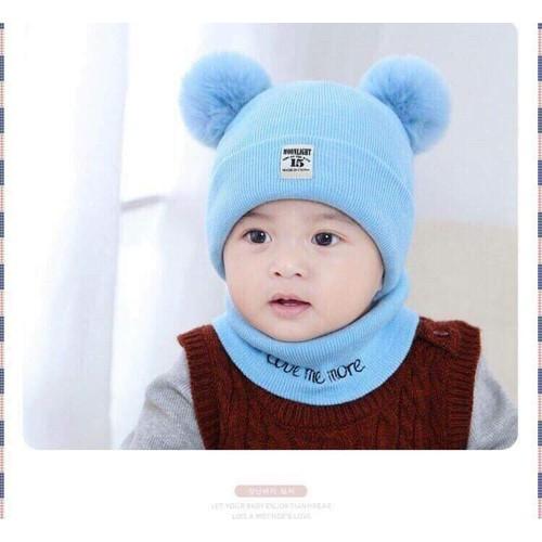 set khăn mũ gấu cho bé