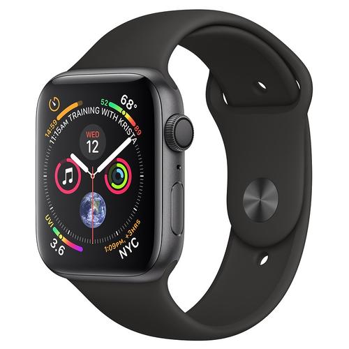 [Áp dụng tại hn và hcm] apple watch series 4 gps  44mm viền nhôm xám dây cao su đen mu6d2vna