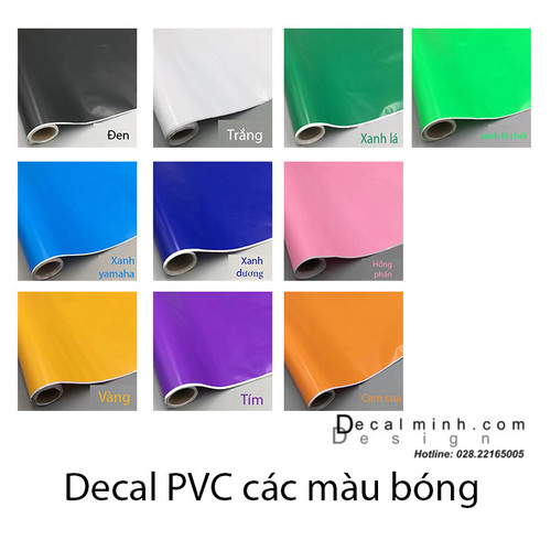 Combo 60cm x 7m decal PVC màu bóng các loại