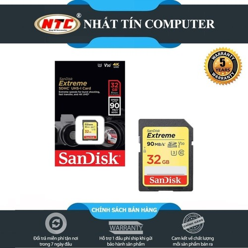 Thẻ nhớ SDHC SanDisk Extreme 32GB Class 10 UHS1-U3 90MB.s [Vàng]
