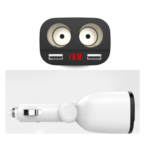Tẩu Xạc Thông Mình Chia 2 Nguồn 2 USB Có Đồng Hồ Đo Điện Áp